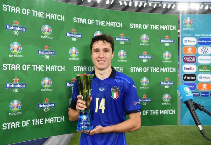 Chiesa được bầu xuất sắc nhất trận Italia vs Wales