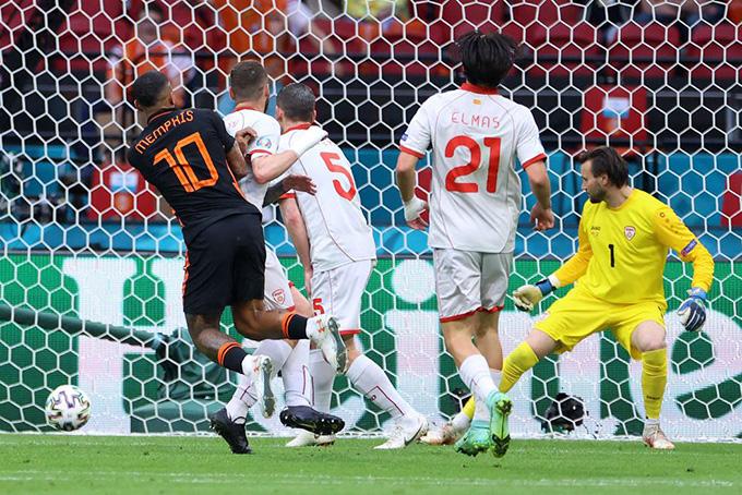 Depay mở tỷ số trong trận Bắc Macedonia vs Hà Lan