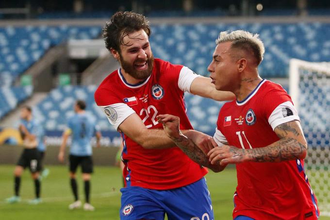 Vargas mở tỷ số trận Uruguay vs Chile ở phút 26