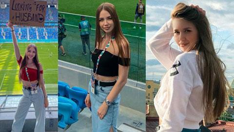 Nữ CĐV xinh như mộng của Nga tại EURO 2020 gây sốt khi đăng biển tìm chồng