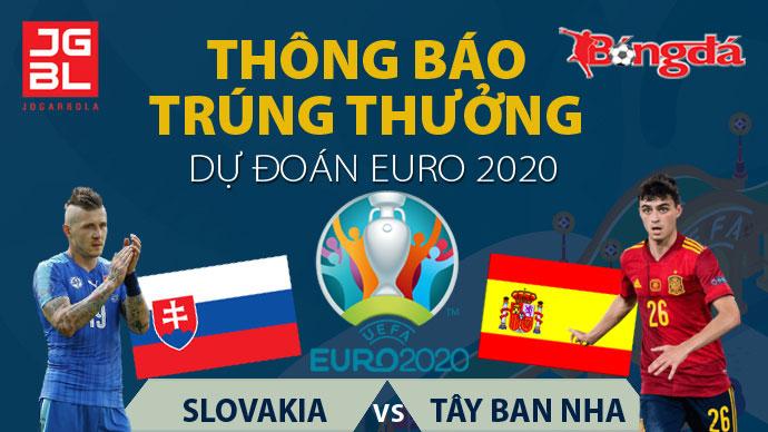 Thông báo trúng giải Dự đoán EURO 2020: Slovakia 0-5 Tây Ban Nha
