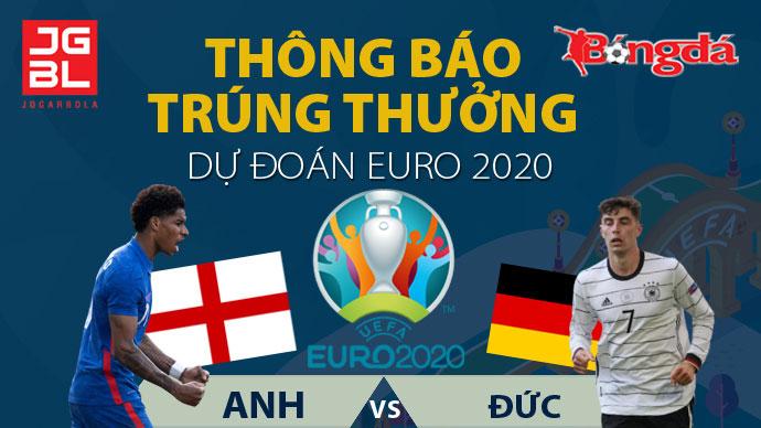 Thông báo trúng giải Dự đoán EURO 2020: Anh vs Đức 2-0