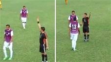 Vào sân thay người, cầu thủ bị đuổi dù chưa chạm bóng