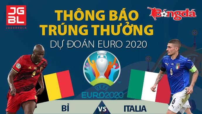 Thông báo trúng giải Dự đoán EURO 2020: Bỉ vs Italia: 1-2