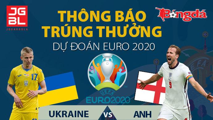 Thông báo trúng giải Dự đoán EURO 2020: Ukraine vs Anh 0-4