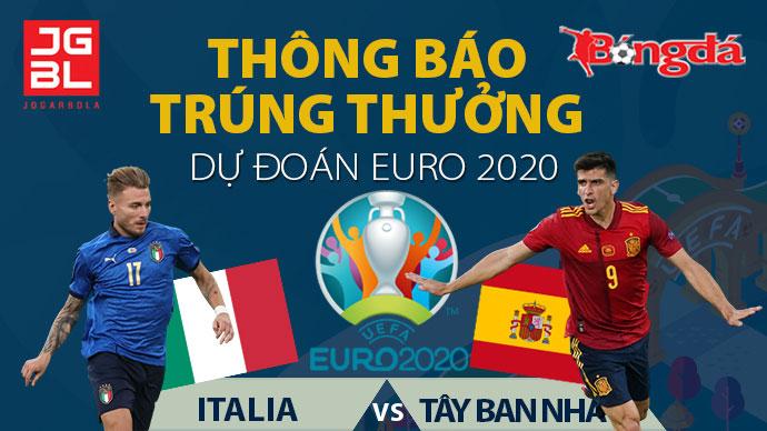 Thông báo trúng giải Dự đoán EURO 2020: Italia vs Tây Ban Nha 1-1 (pen: 4-2)