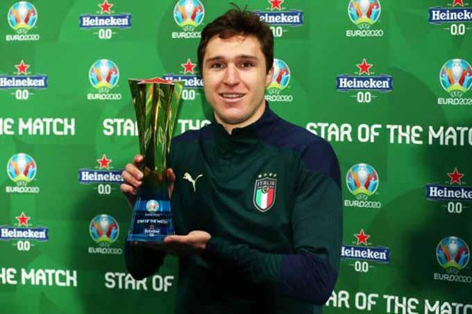 Chiesa là Cầu thủ xuất sắc nhất trận bán kết giữa Italia vs Tây Ban Nha