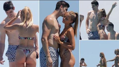 Bị loại khỏi EURO, Courtois đi xả hơi cùng bạn gái siêu mẫu cực xinh