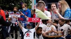 CĐV Anh quẩy banh nóc khi đội nhà đánh bại Đan Mạch