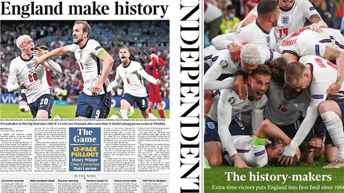 Báo chí Anh 'nổ' tưng bừng khi đội nhà vào chung kết EURO 2020