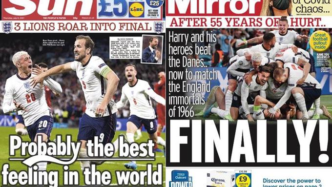 Truyền thông Anh bùng nổ sau chiến tích vào chung kết EURO 2020 của Anh