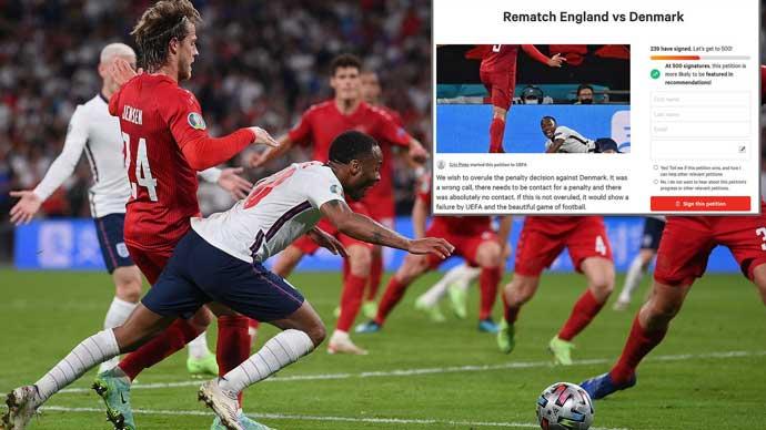 Hơn 1.500 người ký tên yêu cầu đá lại trận Anh vs Đan Mạch
