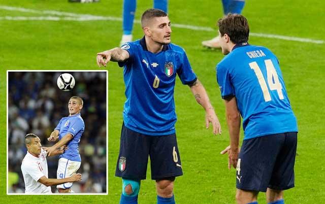 9 năm sau khi ra mắt ĐT Italia trong trận đấu với Anh (ảnh nhỏ), Verratti đang đứng trước cơ hội vô địch EURO 2020 nếu cùng đồng đội đánh bại Tam sư