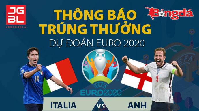Thông báo trúng giải Dự đoán EURO 2020: Italia vs Anh 1-1 (pen: 3-2)