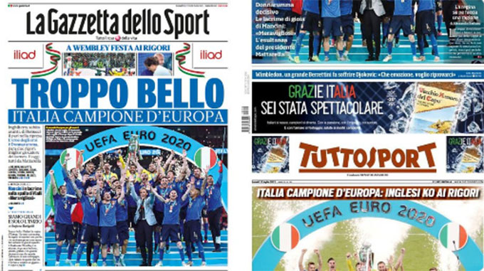 Một số hình ảnh được đăng trên trang nhất các tờ báo hàng đầu ở Italia
