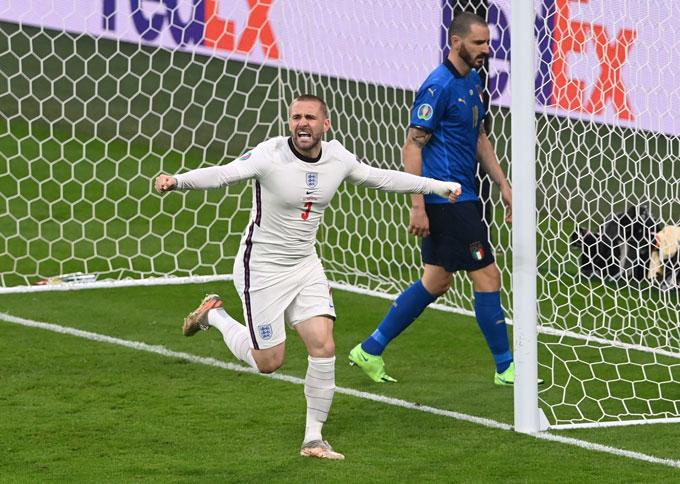 Luke Shaw ăn mừng bàn thắng mở tỷ số trong trận chung kết EURO 2020 và đi vào lịch sử của giải đấu