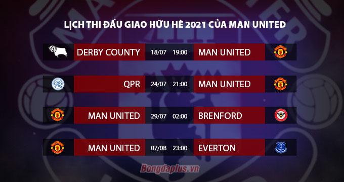 Lịch thi đấu giao hữu của Man United ở Hè 2021