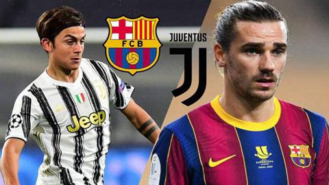 Barca tính đổi Griezmann lấy Dybala của Juventus