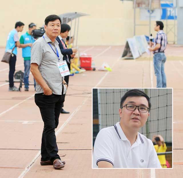 Ông Bùi Xuân Hòa và Trương Mạnh Linh (ảnh nhỏ) nêu ra quan điểm dừng giải đấu giữa chừng - Ảnh: Minh Tuấn