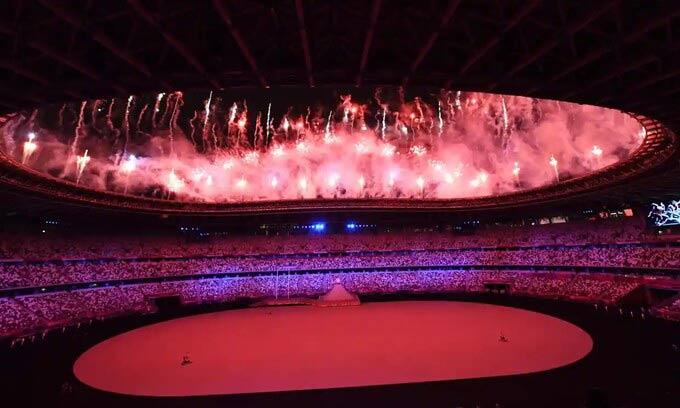Khung cảnh sân Olympic nhìn từ trên cao trước giờ diễn ra lễ khai mạc