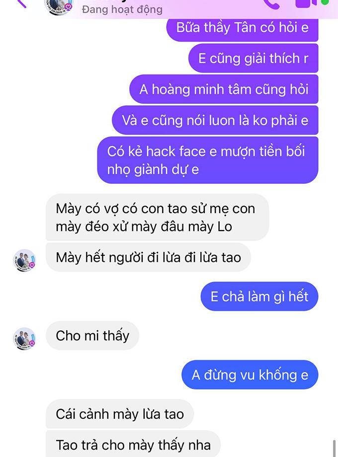 Tin nhắn đe doạ của người đàn ông có facebook tên là Hen Ry tới gia đình Trần Văn Vũ. Ảnh: Chụp FB