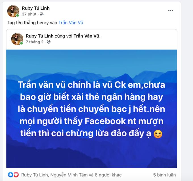 Ngày 7 tháng 2, vợ của Trần Văn Vũ đã đăng thông tin để mọi người biết, chồng mình bị đánh cắp facebook