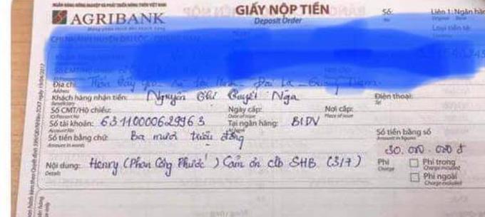 Biên lai gửi tiền của chị Tr, vợ anh P khi bị kẻ gian lừa đảo