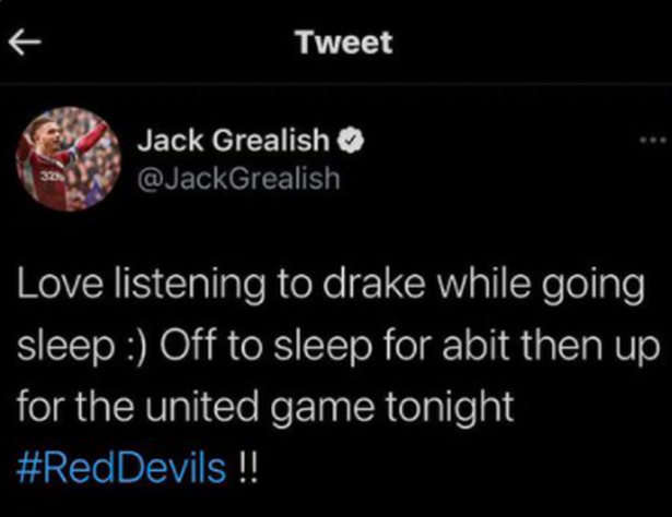 Đoạn tweet biến mất khỏi trang cá nhân của Grealish