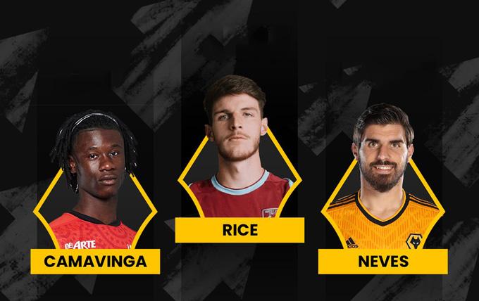 3 mục tiêu trong tầm ngắm của MU gồm (trái sang) Camavinga, Rice và Neves