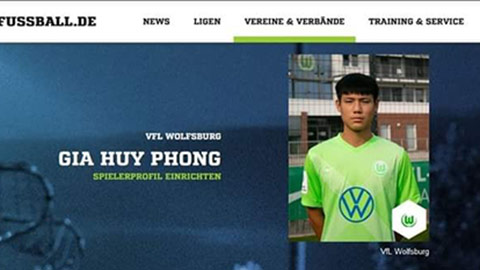 Gia Huy Phong, hậu vệ gốc Việt đang thăng tiến ở đội trẻ Wolfsburg