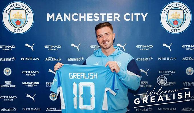 Grealish mang áo số 10 ở Man City
