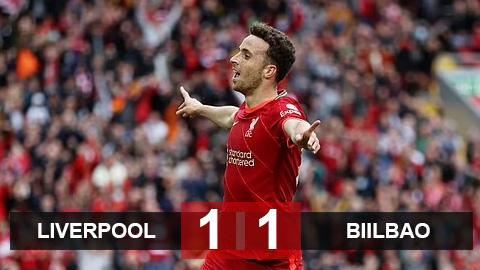 Kết quả Liverpool 1-1 Bilbao: Jota nổ súng, The Reds vẫn rơi chiến thắng