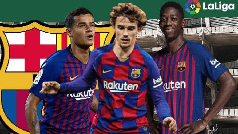 Bộ ba ngôi sao đắt giá Coutinho, Griezmann và Dembele (từ trái qua) sẽ có trách nhiệm lấp vào khoảng trống Messi
