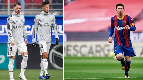 Sự ra đi của những Sergio Ramos, Raphael Varane và nhất là Lionel Messi (ảnh phải) khiến sức hút của La Liga giảm sút rõ rệt