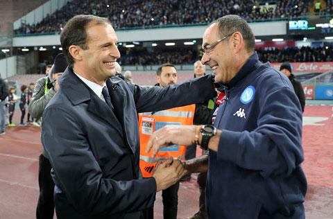 Massimiliano Allegri và Maurizio Sarri (phải) đã giành tổng cộng 7 Scudetto trong sự nghiệp HLV