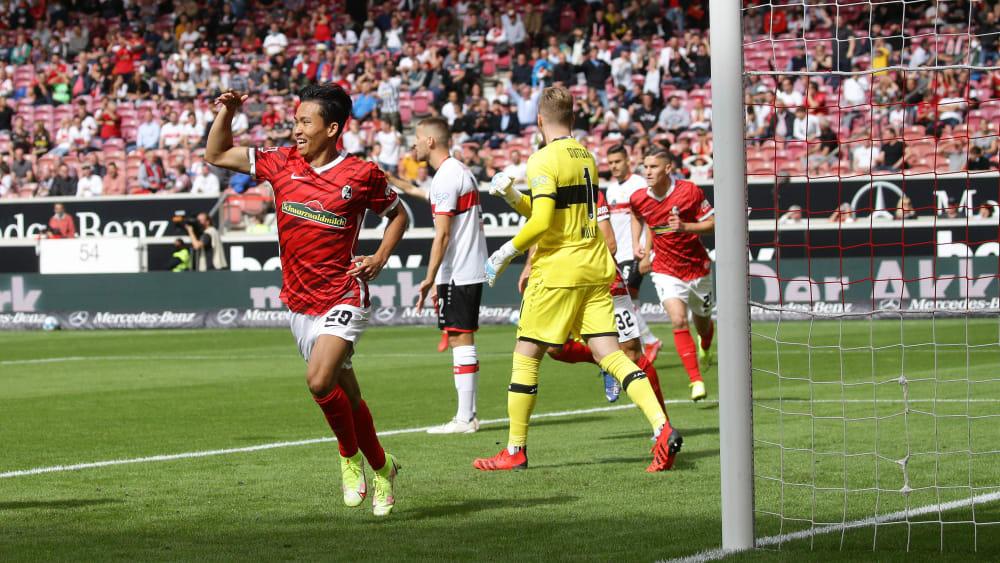 Jeong vừa lập cú dúp vào lưới Stuttgart