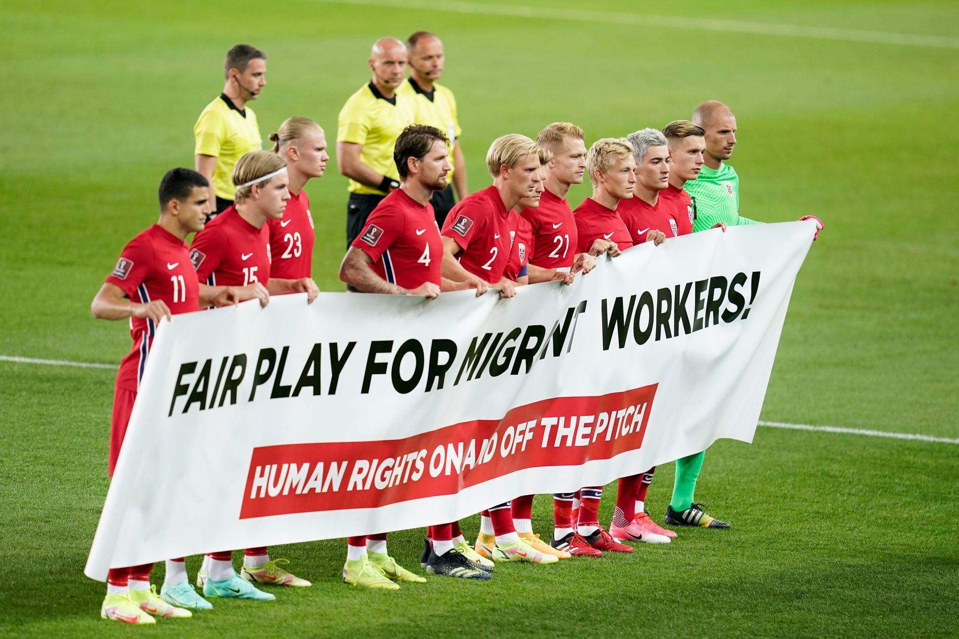 """Haaland và đồng đội lại kêu gọi """"công bằng cho lao động nhập cư"""" tại Qatar"""