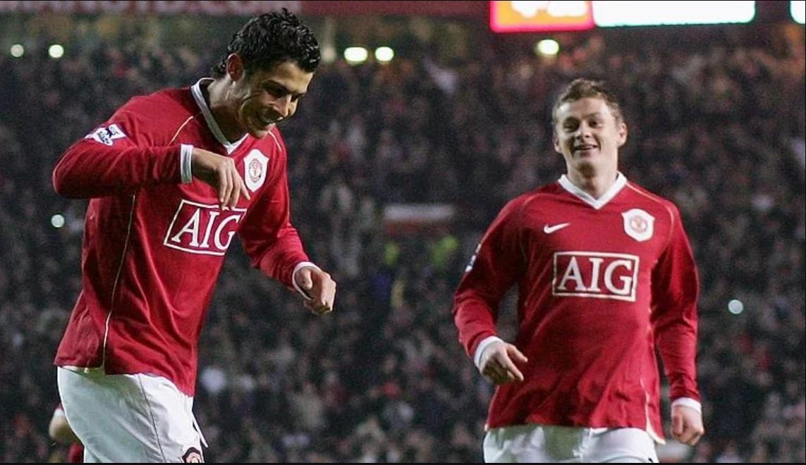 Ronaldo và Solskjaer ngày còn là đồng đội
