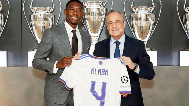 Tại Real, áo số 4 được truyền lại từ Sergio Ramos tới David Alaba