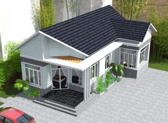 Ngôi nhà này thiết kế theo phong cách hiện đại, sử dụng tôn màu xám giả ngói