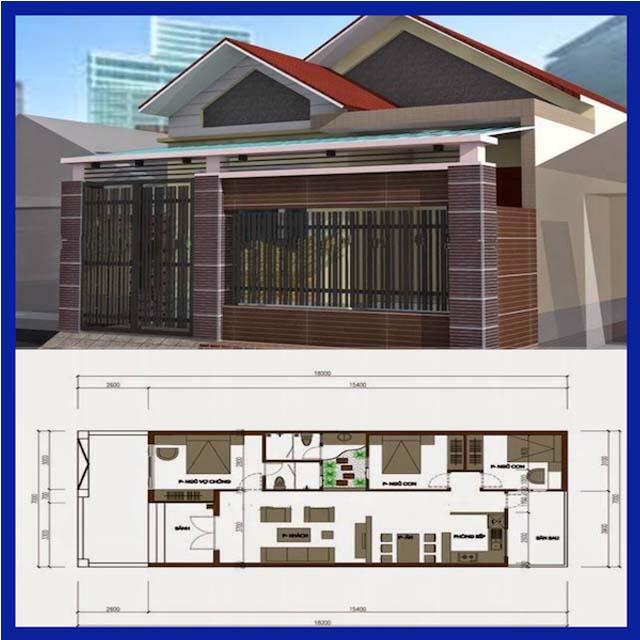 Ngôi nhà mái tôn này có diện tích 7x18m, bản thiết kế chia thành 2 phần theo chiều dọc với 3 phòng ngủ, 2 WC