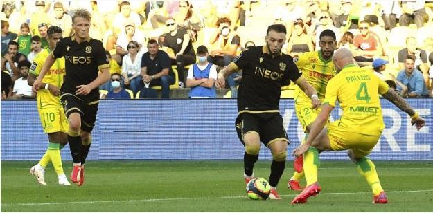 Bộ đôi Dolberg-Gouiri cùng ghi bàn vào lưới Nantes