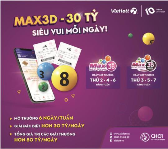 Xổ số Max 3D Pro chính thức mở thưởng từ ngày 13/9