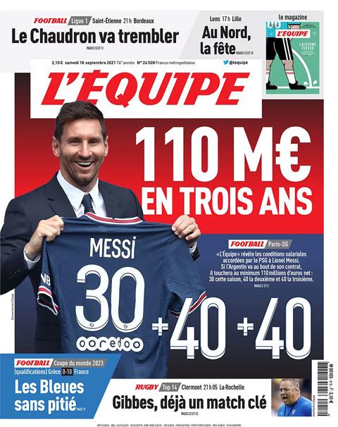 Messi được cho là sẽ nhận 110 triệu euro tiền lương cố định cho hợp đồng 3 năm ở PSG