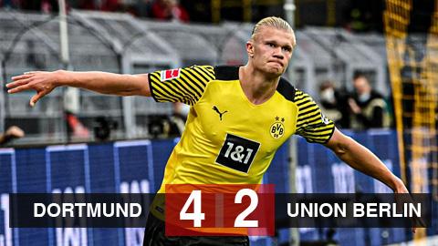 Kết quả Dortmund 4-2 Union Berlin: Haaland lập cú đúp, Dortmund áp sát Bayern