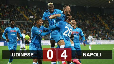 Kết quả Udinese 0-4 Napoli: Chiếm ngôi đầu bảng