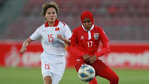 """Đội tuyển nữ Việt Nam dội """"mưa gôn"""" 16 bàn vào lưới Maldives"""