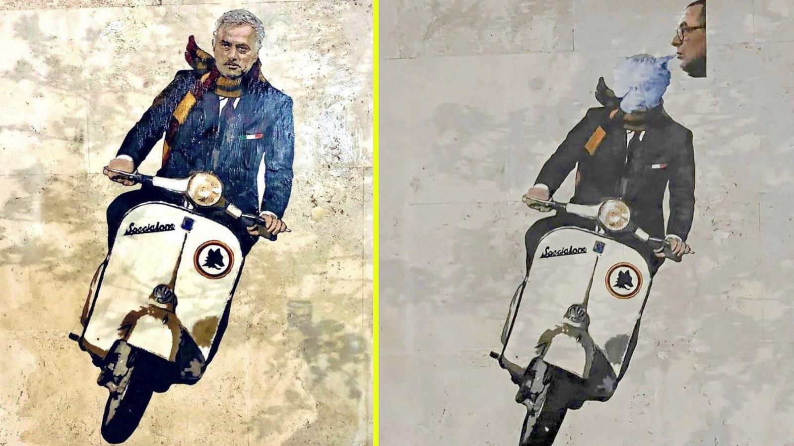 Bức tranh vẽ Mourinho ở Rome bị CĐV của Lazio bôi nhọ bằng cách che đầu Mourinho trong khói thuốc của Sarri