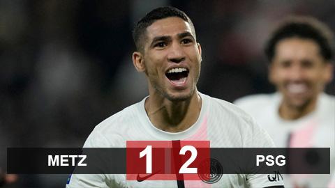 Kết quả Metz 1-2 PSG: Siêu hậu vệ Hakimi tỏa sáng