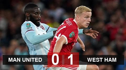 Kết quả Man United 0-1 West Ham: Quỷ đỏ dừng bước ở cúp Liên đoàn
